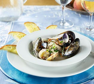 Branzino, Clams and Shellfish in White Wine