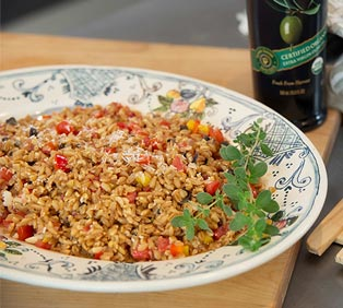 Farro Salad with Red Bell Pepper Confetti