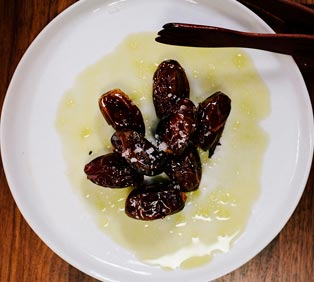 Hot Dates with Bellucci EVOO and Flake Sea Salt