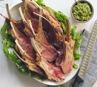 Roasted Rack of Lamb with Mint Pesto