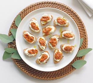 Roasted Red Pepper Crostini with Whipped Ricotta
