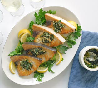 Swordfish with Anchovy Caper Sauce