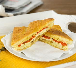 Toasted Focaccia Sandwich with Artichoke and Mozzarella